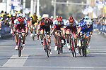 Race leader Elia Viviani (ITA) Quick-Step Floors and Marco Haller (AUT) Katusha Alpecin sprint for the finish line of Stage 5 The Meraas Stage final stage of the Dubai Tour 2018 the Dubai Tour's 5th edition, running 132km from Skydive Dubai to City Walk, Dubai, United Arab Emirates. 10th February 2018.<br /> Picture: LaPresse/Fabio Ferrari | Cyclefile<br /> <br /> <br /> All photos usage must carry mandatory copyright credit (© Cyclefile | LaPresse/Fabio Ferrari)