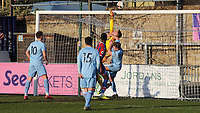 Crystal Palace goalkeeper, Oliver Webber, tips the ball over the crossbar under pressure from Burnley's Mitchell George during Crystal Palace Under-23 vs Burnley Under-23, Premier League Cup Football at Champion Hill Stadium on 6th February 2020