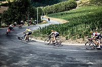 Yellow Jersey / GC leader Giulio Ciccone (ITA/Trek Segafredo) and teammates descending. <br /> <br /> Stage 8: Macon to Saint-Etienne (200km)<br /> 106th Tour de France 2019 (2.UWT)<br /> <br /> ©kramon
