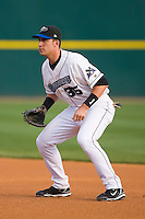 First baseman Travis Ishikawa (35) of the Connecticut Defenders on defense versus the Trenton Thunder at Dodd Stadium in Norwich, CT, Tuesday, June 3, 2008.