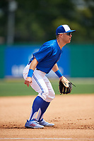 Dunedin Blue Jays third baseman Cullen Large (4) during a Florida State League game against the Clearwater Threshers on April 7, 2019 at Jack Russell Memorial Stadium in Clearwater, Florida.  Dunedin defeated Clearwater 2-1.  (Mike Janes/Four Seam Images)