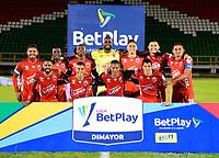 TUNJA - COLOMBIA, 27-02-2021: Jugadores de Patriotas Boyaca F. C. posan para una foto, antes de partido de la fecha 10 entre Patriotas Boyaca F. C. y Atletico Junior por la Liga BetPlay DIMAYOR I 2021, jugado en el estadio La Independencia de la ciudad de Tunja. / Players of Patriotas Boyaca F. C. pose for a photo, prior a match of the 10th date between Patriotas Boyaca F. C. and Atletico Junior for the BetPlay DIMAYOR I 2021 League played at the La Independencia stadium in Tunja city. / Photo: VizzorImage / Edward Leguizamon / Cont.
