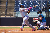 Dunedin Blue Jays Miguel Hiraldo (5) hits a double during a game against the Tampa Tarpons on May 9, 2021 at George M. Steinbrenner Field in Tampa, Florida.  (Mike Janes/Four Seam Images)