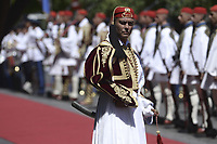 Pictured: A presidential Guard outside the Presidential Mansion in Athens, Greece. Thurday 07 September 2017<br /> Re: The official welcome of French President Emmanuel Macron for his state visit to Athens, Greece.