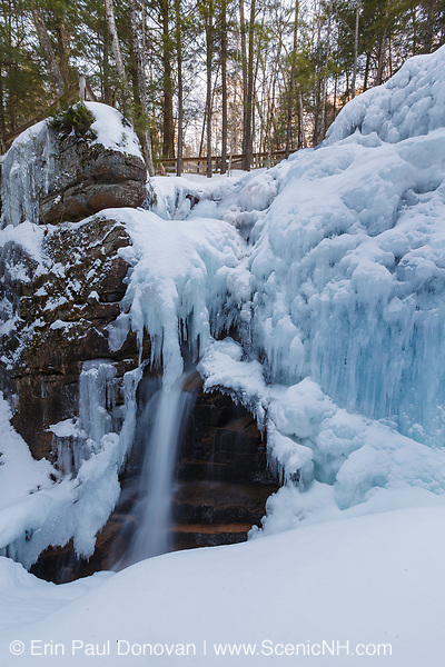 Avalanche Falls on Flume Brook at Flume Gorge in Franconia Notch, New Hampshire during the winter season. This brook travels through the gorge.