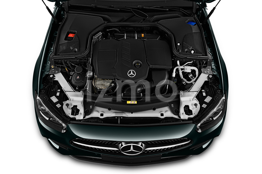 Car Stock 2021 Mercedes Benz E-Class AMG-Line 2 Door Coupe Engine  high angle detail view