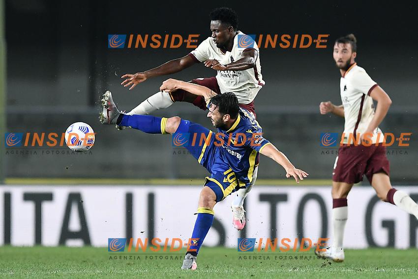 Amadou Diawara-Samuel Di Carmine <br /> Serie A football match between Hellas Verona and AS Roma at Marcantonio Bentegodi Stadium in Verona (Italy), September 19th, 2020. Photo Image Sport / Insidefoto