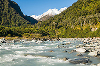 Fox River near Fox Glacier village, Westland National Park, West Coast, World Heritage Area, South Westland, New Zealand