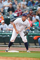 NW Arkansas Naturals first baseman Balbino Fuenmayor (28) during a game against the San Antonio Missions on May 30, 2015 at Arvest Ballpark in Springdale, Arkansas.  San Antonio defeated NW Arkansas 5-1.  (Mike Janes/Four Seam Images)