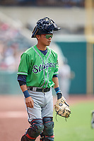 Gwinnett Stripers catcher Jonathan Morales (2) during a game against the Columbus Clippers on May 17, 2018 at Huntington Park in Columbus, Ohio.  Gwinnett defeated Columbus 6-0.  (Mike Janes/Four Seam Images)