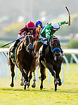 AUGUST 08 2021: Sword Zorro and Umberto Rispoli make contact with Zoffarelli and Drayden Van Dyke as they battle down the stretch in the La Jolla Stakes at Del Mar Fairgrounds in Del Mar, California on August 08, 2021. Evers/Eclipse Sportswire/CSM