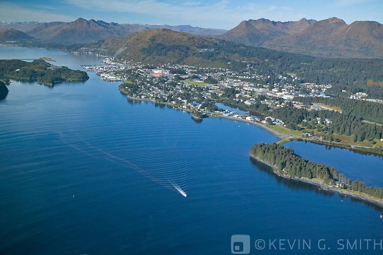 Aerial view Chiniak Bay and the city of Kodiak, looking southwest, fall, Kodiak Alaska, USA.