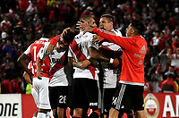 BOGOTÁ - COLOMBIA, 03-05-2018: Los jugadores de River Plate, celebran la victoria sobre Independiente Santa Fe, al término del partido entre Independiente Santa Fe (COL) y River Plate (ARG), de la fase de grupos, grupo D, fecha 5 de la Copa Conmebol Libertadores 2018, jugado en el estadio Nemesio Camacho El Campin de la ciudad de Bogota. / The players of River Plate celebrates the victory over Independiente Santa Fe at the end of a match between Independiente Santa Fe (COL) and River Plate (ARG), of the group stage, group D, 5th date for the Conmebol Copa Libertadores 2018 at the Nemesio Camacho El Campin Stadium in Bogota city. Photo: VizzorImage / Luis Ramírez / Staff.