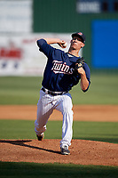 Elizabethton Twins starting pitcher Josh Winder (38) delivers a pitch during a game against the Bristol Pirates on July 28, 2018 at Joe O'Brien Field in Elizabethton, Tennessee.  Elizabethton defeated Bristol 5-0.  (Mike Janes/Four Seam Images)