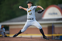 West Virginia Black Bears starting pitcher Mitch Keller (41) delivers a pitch during a game against the Batavia Muckdogs on June 24, 2017 at Dwyer Stadium in Batavia, New York.  The game was suspended in the bottom of the third inning and completed on June 25th with West Virginia defeating Batavia 6-4.  (Mike Janes/Four Seam Images)