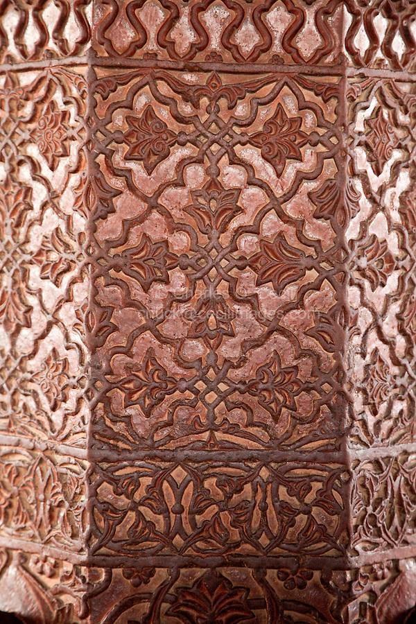 Fatehpur Sikri, Uttar Pradesh, India.  Decorative Carvings in Stone Pillars of the Diwan-i-Khas (Hall of Private Audience).