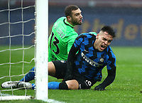 Football, Serie A: AS Roma -  FC Internazionale Milano, Olympic stadium, Rome, January 10, 2021. <br /> Inter's Lautaro Martinez reacts during the Italian Serie A football match between Roma and Inter at Rome's Olympic stadium, on January 10, 2021.  <br /> UPDATE IMAGES PRESS/Isabella Bonotto