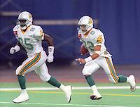 Mark Stock Stefon Adams Sacramento Surge World Bowl 1992. Photo F. Scott Grant