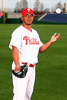 February 24, 2010:  Pitcher Antonio Bastardo (58) of the Philadelphia Phillies poses during photo day at Bright House Field in Clearwater, FL.  Photo By Mike Janes/Four Seam Images