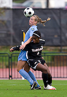 Whitney Engen, Jasmyne Spencer. UNC defeated Maryland, 1-0, during the regular season finale at College Park, Maryland.