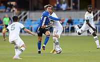 SAN JOSE, CA - MAY 15: Cade Cowell #44 of the San Jose Earthquakes moves towards the goal with the ball during a game between Portland Timbers and San Jose Earthquakes at PayPal Park on May 15, 2021 in San Jose, California.