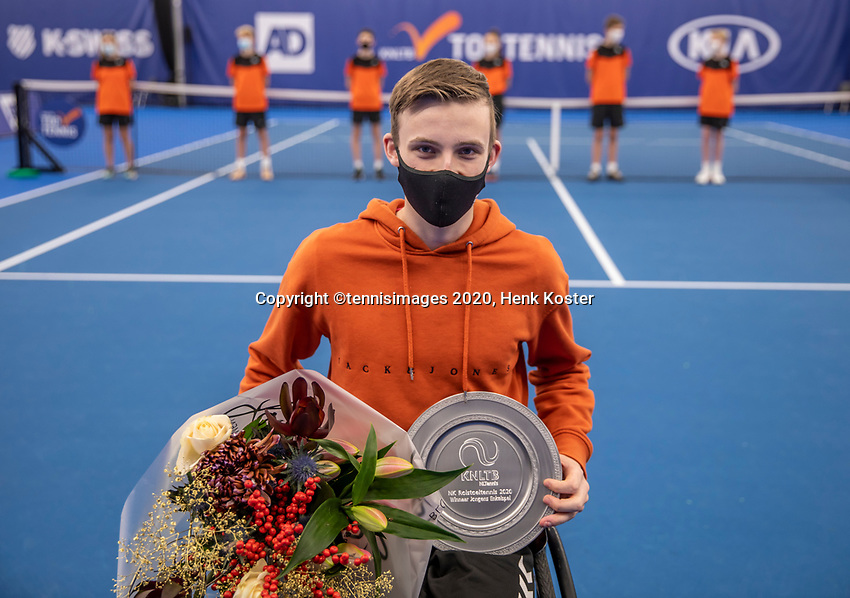 Amstelveen, Netherlands, 12  December, 2020, National Tennis Center, NTC, NKR, National   Indoor Wheelchair Tennis Championships, Junior  single Final :  Winner  Maarten ter Hofte (NED)<br /> Photo: Henk Koster/tennisimages.com