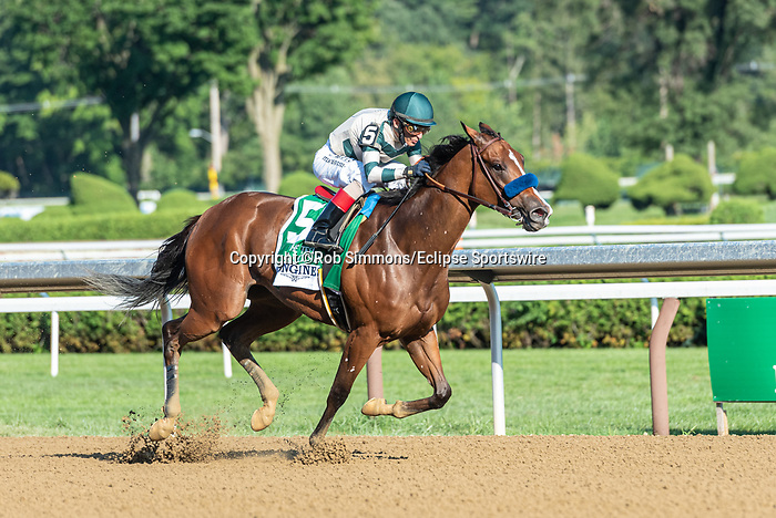 August 8, 2020: GAMINE #5, ridden by John Velazquez, wins the LONGINES Test  on Traver's Day at Saratoga Race Course in Saratoga Springs, New York. Rob Simmons/Eclipse Sportswire/CSM