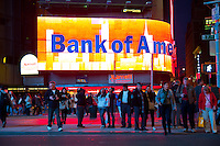 Bank Of America big advertisement sign on Times Square in New York City, USA