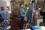 Philip Sutton RA portrait of artist in his studio at home in Manorbier Wales UK  1990s