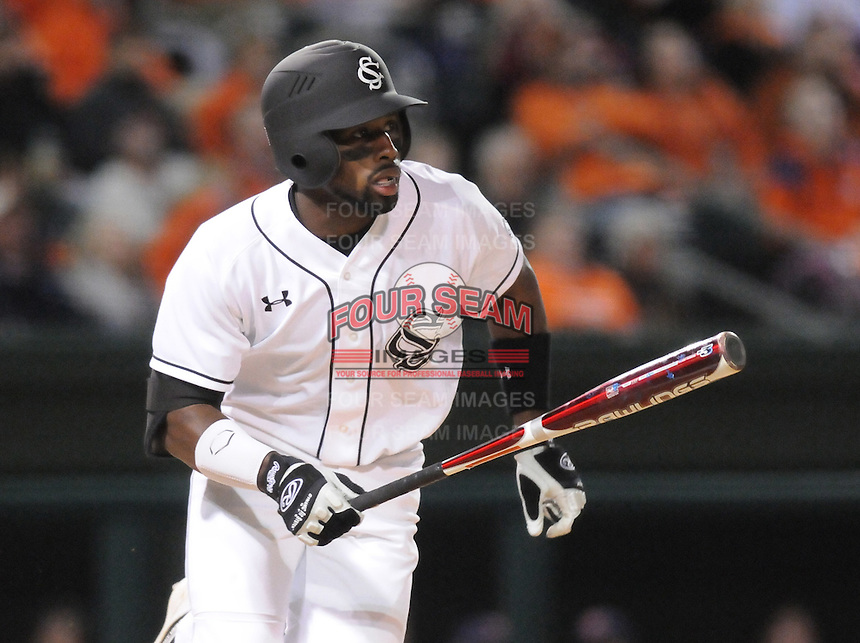 Center fielder Jackie Bradley Jr. (19) of the South Carolina Gamecocks hits in a game against the Clemson Tigers on Tuesday, March 8, 2011, at Fluor Field in Greenville, S.C. South Carolina won 5-4. Photo by Tom Priddy / Four Seam Images.