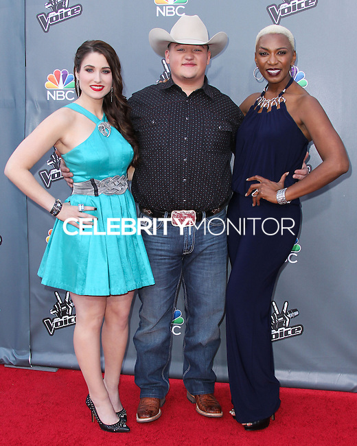"""UNIVERSAL CITY, CA, USA - APRIL 15: Audra McLaughlin, Jake Worthington, Sisaundra Lewis at NBC's """"The Voice"""" Season 6 Top 12 Red Carpet Event held at Universal CityWalk on April 15, 2014 in Universal City, California, United States. (Photo by Xavier Collin/Celebrity Monitor)"""