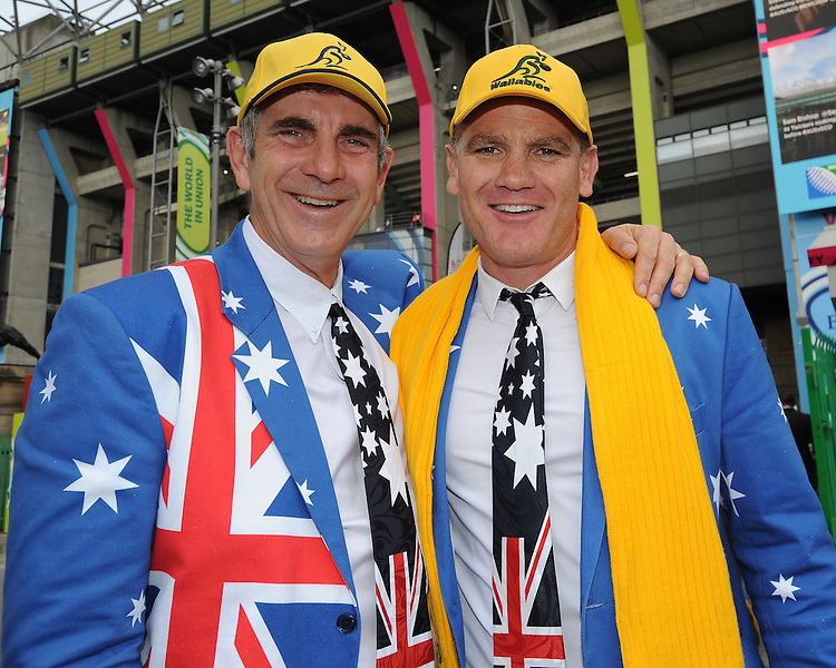 Australian fans soak up the atmosphere ahead of the Quarter Final of the Rugby World Cup 2015 between Australia and Scotland - 18/10/2015 - Twickenham Stadium, London<br /> Mandatory Credit: Rob Munro/Stewart Communications