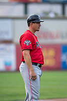 Billings Mustangs third base coach Bryan LaHair (29) during a Pioneer League game against the Ogden Raptors at Lindquist Field on August 17, 2018 in Ogden, Utah. The Billings Mustangs defeated the Ogden Raptors by a score of 6-3. (Zachary Lucy/Four Seam Images)