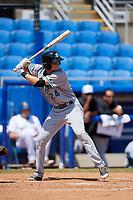 Daytona Tortugas second baseman Brantley Bell (24) at bat during a game against the Dunedin Blue Jays on April 22, 2018 at Dunedin Stadium in Dunedin, Florida.  Daytona defeated Dunedin 5-1.  (Mike Janes/Four Seam Images)
