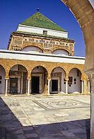 Tunis, Tunisia.   Courtyard of Zawiya of Sidi Kacem Al-Jalizi, 17th-18th. Century, restored 20th. Century.  Sidi Kacem, died 1496, is Tunisia's most famous ceramic artist.