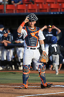 Chris Hudgins (24) of the Cal State Fullerton Titans during a game against the University of San Diego Toreros at Goodwin Field on April 5, 2016 in Fullerton, California. Cal State Fullerton defeated University of San Diego, 4-2. (Larry Goren/Four Seam Images)