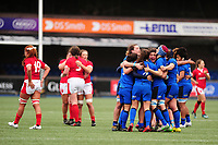 Italy celebrate winning the match at full time of the Women's six nations championship match between the Wales and Italy at Cardiff Arms Park in Cardiff, Wales, UK. Sunday 02 February 2020