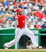 24 September 2011: Washington Nationals outfielder Michael Morse in action against the Atlanta Braves at Nationals Park in Washington, DC. The Nationals defeated the Braves 4-1 to even up their 3-game series. Mandatory Credit: Ed Wolfstein Photo