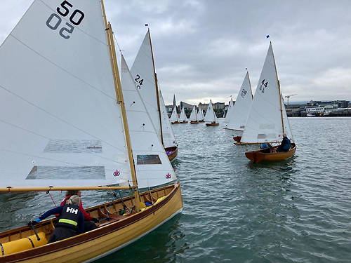 The start of the 27 boat DBSC Water Wag race at Dun Laoghaire Harbour