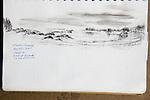 Alaska, Owens Island, Prince William Sound, charcoal on paper, Journal Art 2007,