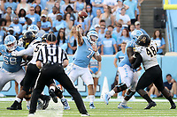 CHAPEL HILL, NC - SEPTEMBER 21: Sam Howell #7 of the University of North Carolina throws the ball during a game between Appalachian State University and University of North Carolina at Kenan Memorial Stadium on September 21, 2019 in Chapel Hill, North Carolina.