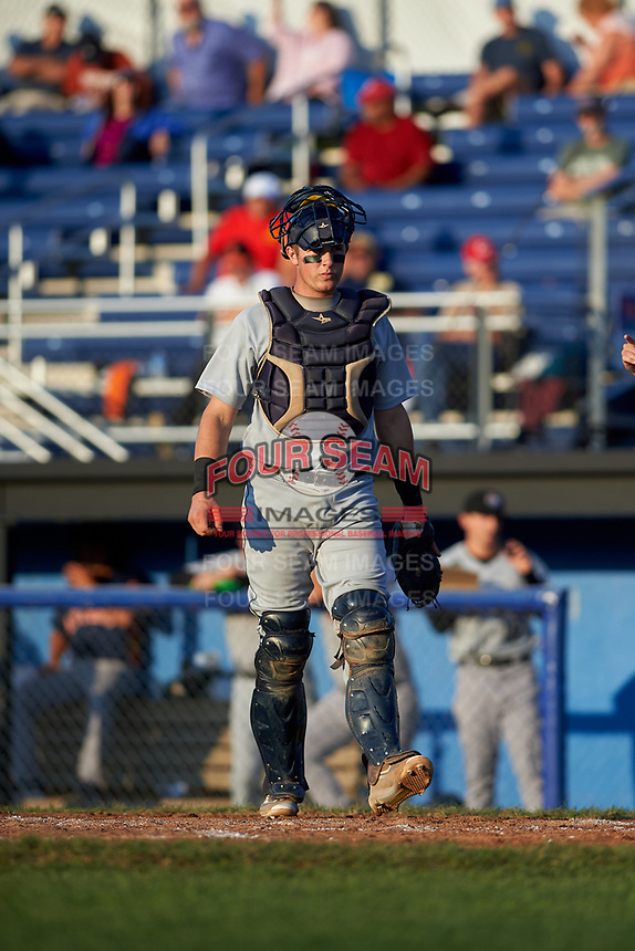 Tri-City ValleyCats catcher Michael Papierski (9) during a game against the Batavia Muckdogs on July 15, 2017 at Dwyer Stadium in Batavia, New York.  Tri-City defeated Batavia 5-4.  (Mike Janes/Four Seam Images)