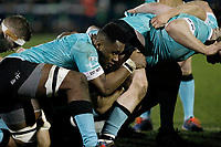 Tui Uru of Nottingham Rugby in the scrum during the Greene King IPA Championship match between London Scottish Football Club and Nottingham Rugby at Richmond Athletic Ground, Richmond, United Kingdom on 7 February 2020. Photo by Carlton Myrie.