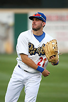 Zach Reks (21) of the Rancho Cucamonga Quakes throws in the outfield before a game against the Modesto Nuts at LoanMart Field on August 2, 2017 in Rancho Cucamonga, California. Modesto defeated Rancho Cucamonga, 10-5. (Larry Goren/Four Seam Images)