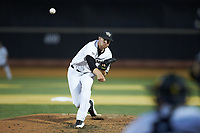Wake Forest Demon Deacons relief pitcher Antonio Menendez (27) in action against the Davidson Wildcats at David F. Couch Ballpark on May 7, 2019 in  Winston-Salem, North Carolina. The Demon Deacons defeated the Wildcats 11-8. (Brian Westerholt/Four Seam Images)