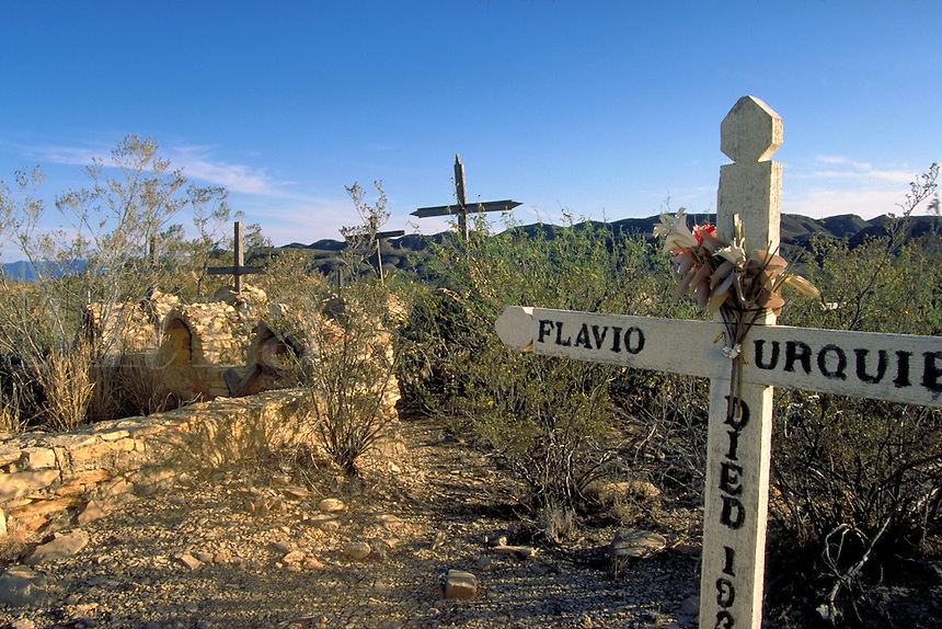 Terlingua cemetery. In the Big Bend region, Terlingua was a mining (mercury from cinnabar deposits) town. Now famous as a ghost town and site of annual chili cook-off. Terlingua Ghost Town Texas.