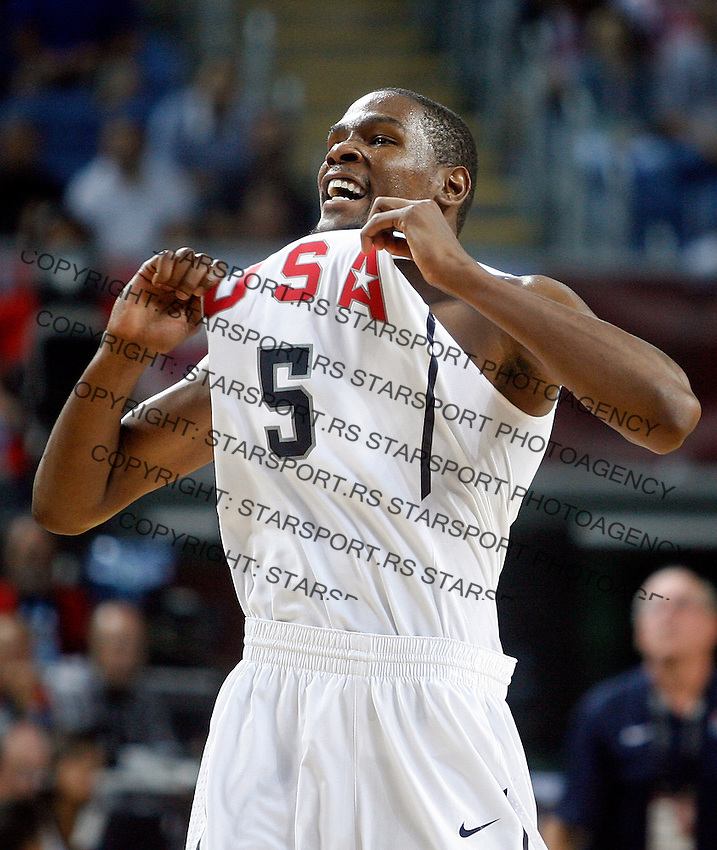 Kevin DURANT (USA)  celebrates  during the semi-final World championship basketball match against Lithuania in Istanbul, USA-Lithuania, Turkey on Saturday, Sep. 11, 2010. (Novak Djurovic/Starsportphoto.com)