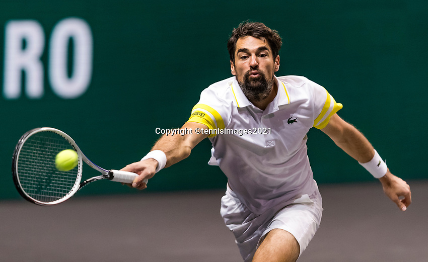 Rotterdam, The Netherlands, 4 march  2021, ABNAMRO World Tennis Tournament, Ahoy, Second round match: Jeremy Chardy (FRA).Photo: www.tennisimages.com/
