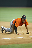 Frederick Keys first baseman Collin Woody (21) on defense against the Winston-Salem Dash at BB&T Ballpark on July 26, 2018 in Winston-Salem, North Carolina. The Keys defeated the Dash 6-1. (Brian Westerholt/Four Seam Images)
