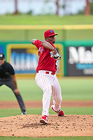 Clearwater Threshers pitcher Jordi Martinez (18) during a game against the St. Lucie Mets on July 1, 2021 at BayCare Ballpark in Clearwater, Florida.  (Mike Janes/Four Seam Images)